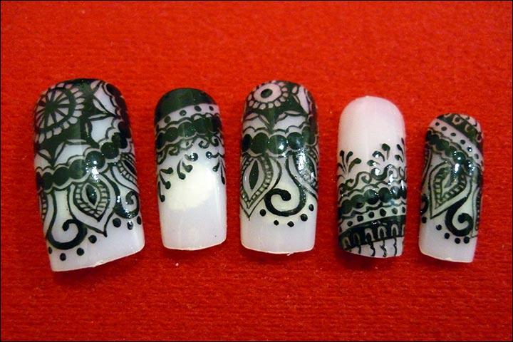 Индийские узоры на ногтях